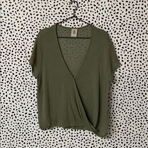 Free People Olive Green Wrap Casual Top